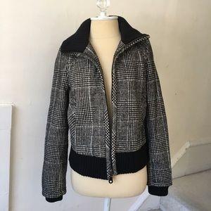 🖤 Zara 💙 Grey Check Tweed Bomber